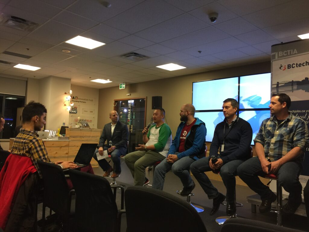 The panel for the BC Tech Jobs Career Networking Event at the Vancouver BCTIA Hub