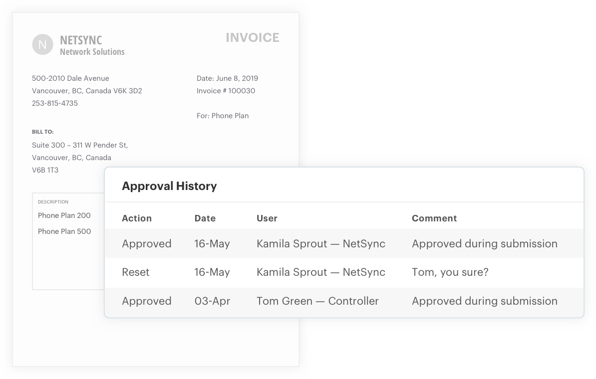 Invoice approval history report
