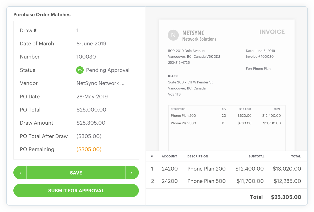 Purchase order matches