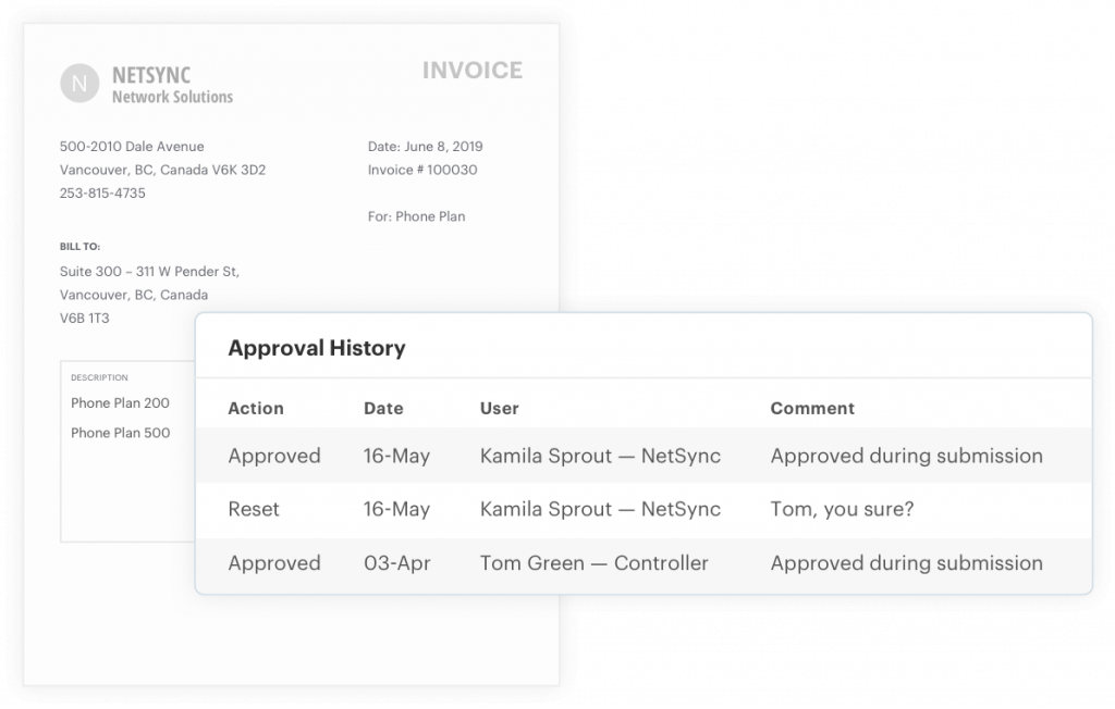 Invoice approval history