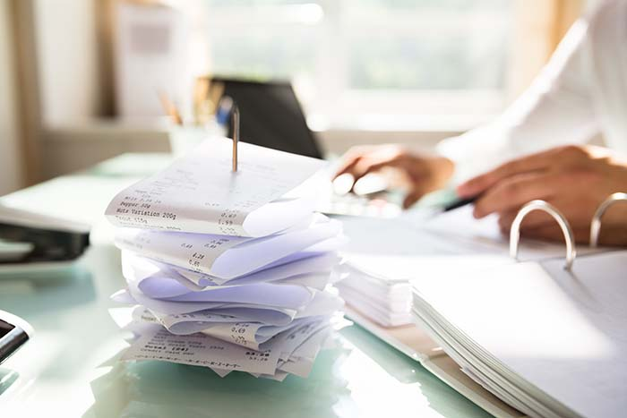 a pile of receipts
